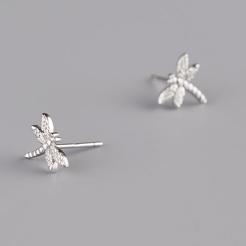 Image of 100% 925 Sterling Silver Dragonfly Stud Earrings