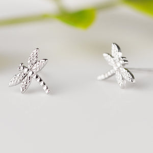 100% 925 Sterling Silver Dragonfly Stud Earrings