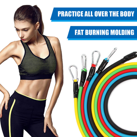 11PCS/ 13PCS Fitness Resistance Bands Workout Exercise Yoga Set Fitness Tube Yoga Stretch Training Home Gyms Elastic Pull Rope Resistance bands