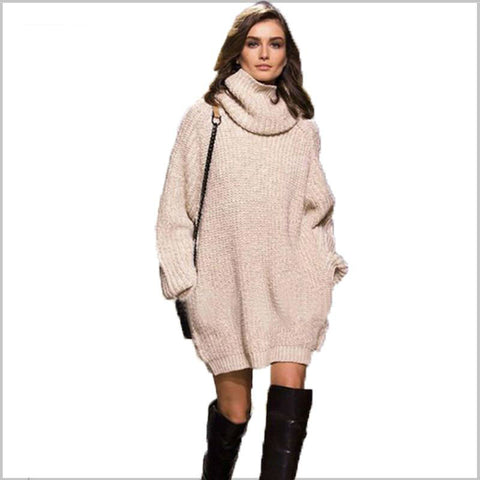 Highneck Long Sleeve Knit Sweater Dresses Loose with Pockets Warm Winter Dresses