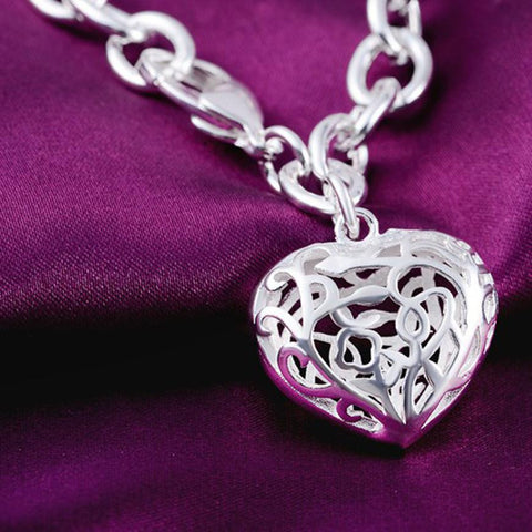 Image of Sterling Silver plated Heart Charm Bracelet & Bangles 75% off