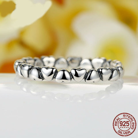 Image of 100% 925 Sterling Silver Love Heart Rings