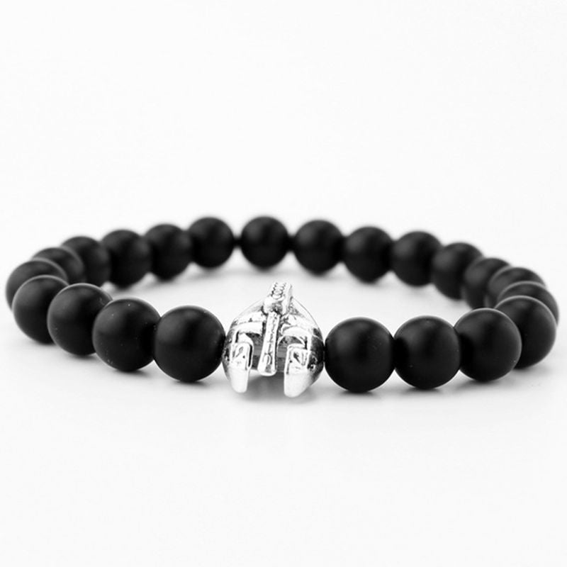 High quality matte beads bracelets Spartan warrior Mask bracelet