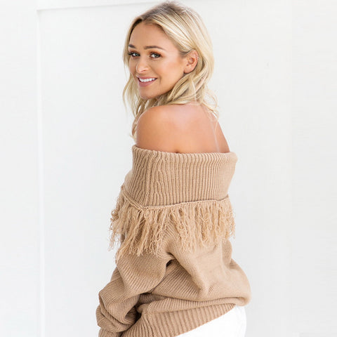 Tassel Sweater Long sleeve Pullovers Loose Knitted Sweater Slash Neck Sexy Off Shoulder Tops