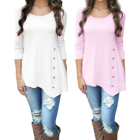 Plus Size Long Sleeve Super Comfortable Button Trim Blouse Round Neck Tunic to Sizes 6XL