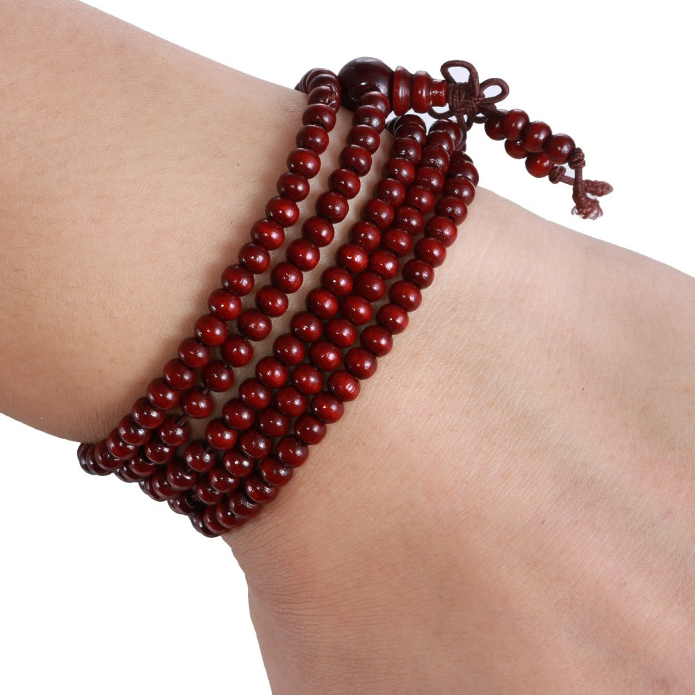 Free Pray Beads 216 *5mm red color Prayer beads Natural Sandalwood Buddhist Mala Buddha Unisex bracelets & bangles Jewelry Just Cover Shipping