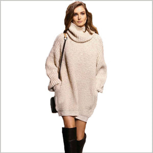 Winter Highneck Long Sleeve Knit Sweater Dresses with Pockets