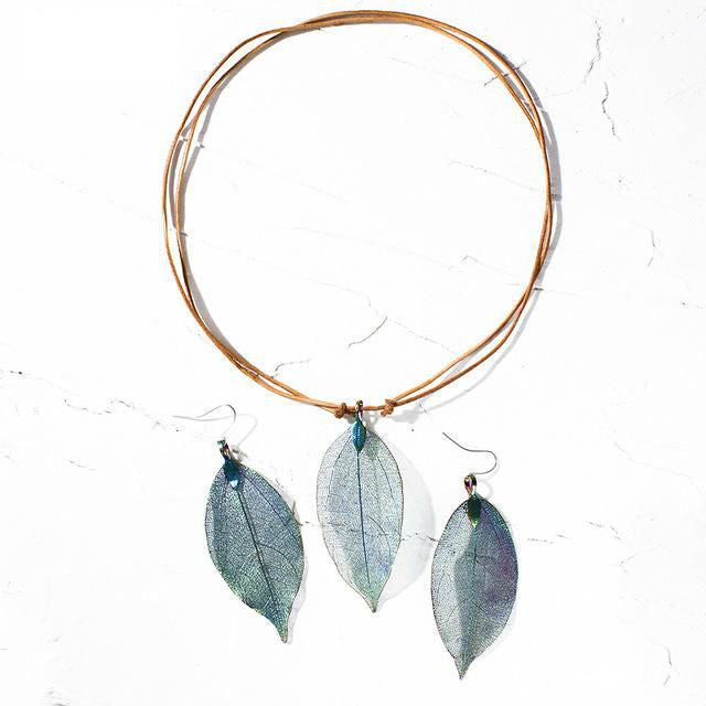 Artilady real leaf pendant necklace earring set  genuine leather copper necklaces women boho jewelry set gift