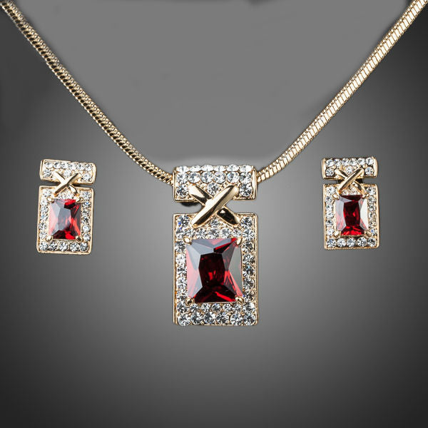 Gold Color Unique Design with Dark Red Cubic Zirconia Earrings and Necklace Jewelry Sets