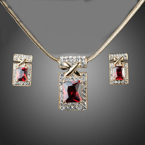 Image of Gold Color Unique Design with Dark Red Cubic Zirconia Earrings and Necklace Jewelry Sets