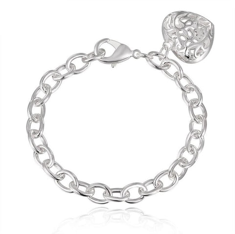 Sterling Silver plated Heart Charm Bracelet & Bangles 75% off