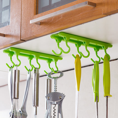 Image of 4 Color Kitchen Cabinet Wall Cabinet Hook Kitchen Storage Strong Sticky Hooks Up Wall Rails