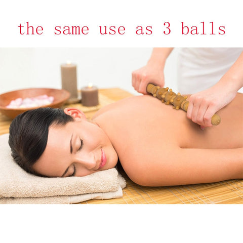17 inches Wooden 6 Small Balls Home Spa Muscle Roller Stick Cellulite Blaster Fascia Body Back Leg Relaxing Tool Self Massage Product