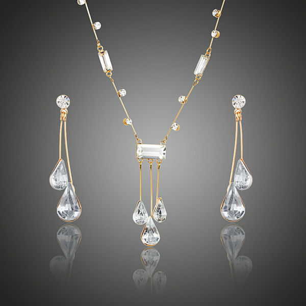 Elegant Gold Color Stellux Austrian Crystal Water Drop Earrings and Pendant Necklace Jewelry for Wedding ,New Years Eve, Evening Gown