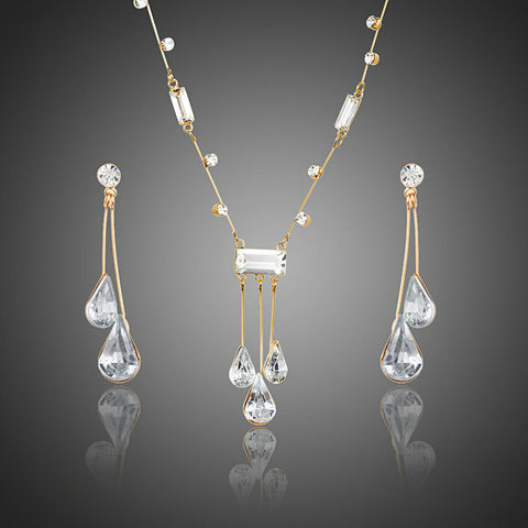 Image of Elegant Gold Color Stellux Austrian Crystal Water Drop Earrings and Pendant Necklace Jewelry for Wedding ,New Years Eve, Evening Gown