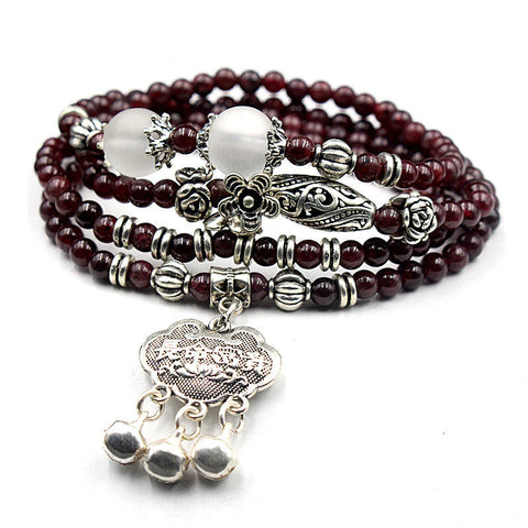 Image of Natural Garnet Stone  Charm bracelet multi layer Energy Regeneration Strength longevity luck