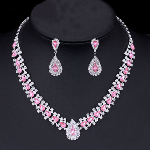 Image of Crystal African Wedding Jewelry Sets Pink/Silver Color Teardrop Beads Bridal Choker Necklace Earrings