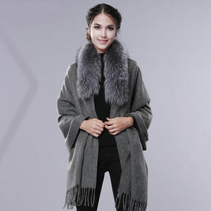 Cashmere Wool Fur Shawl Women Winter Long Warm Fur Scarf
