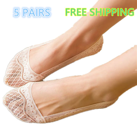5 pairs full-circle silicone lace non-slip stealth socks
