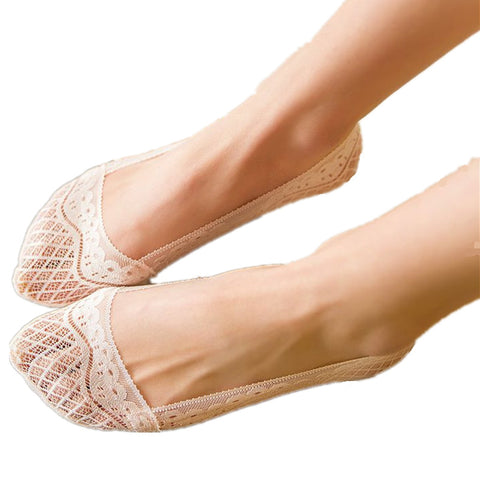 Image of 5 pairs full-circle silicone lace non-slip stealth socks