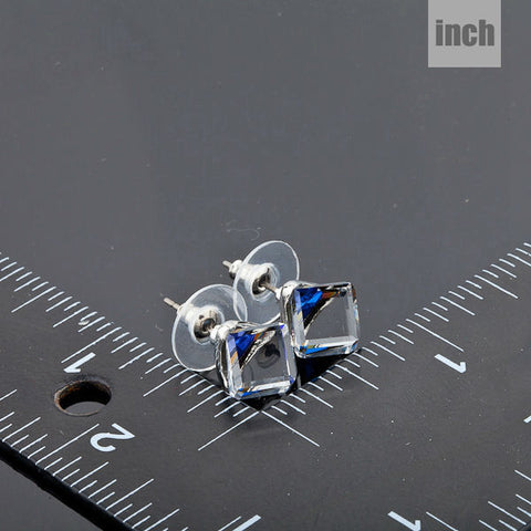 Image of White Gold Color Stellux Austrian Crystal Blue Cube Stud Earring