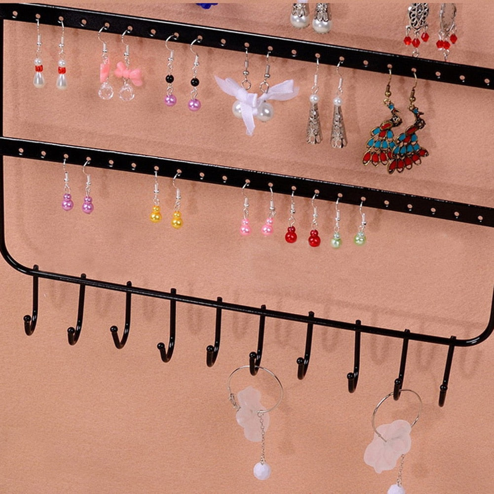 Earring and necklace Organizer with 66 Holes and 10 Hooks