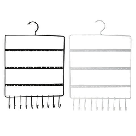 Image of Earring and necklace Organizer with 66 Holes and 10 Hooks
