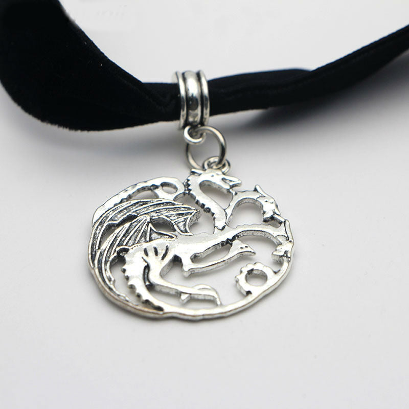 M211 Dongmanli Classic Vintage Ice And Fire Game Of Thrones Daenerys Targaryen Dragon Necklace Badge Link Chain Necklace