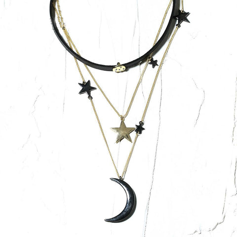 Image of Moon and the Stars Necklace Leather choker necklace jewelry