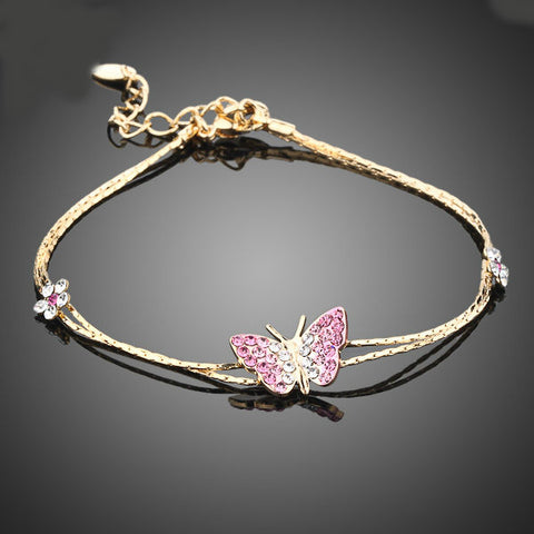 Image of Gold Color Stellux Austrian Crystal Butterfly and Flower Charm Bracelet