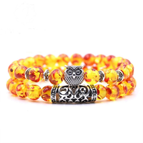 Image of 8mm Owl Stone Bracelet Sets Charms Friendship Bracelets & Bangles in 16 Colors different colors of 2Pcs/sets