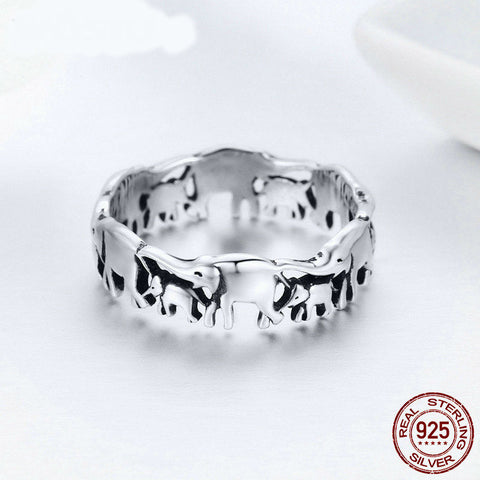 100% Real 925 Sterling Silver Elephant Family Ring