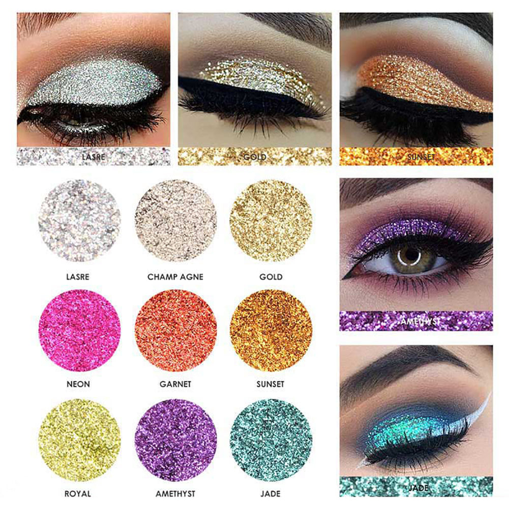 9 Color Shimmer Glitter Eye Powder Palette Matte Cosmetic Makeup Gift