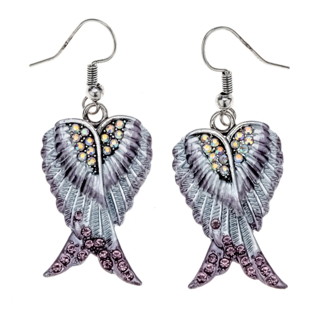 You are My Angel wings dangle drop earrings