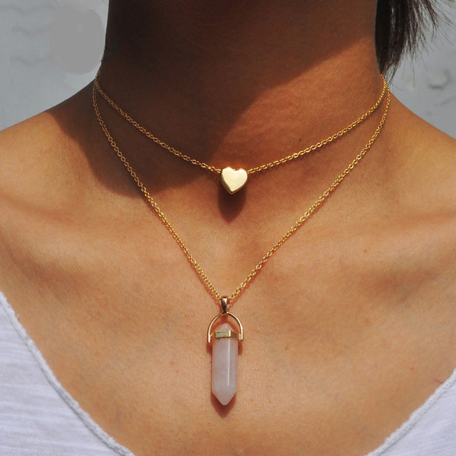 Natural Stone Necklace heart gold pendant jewelry 75% off