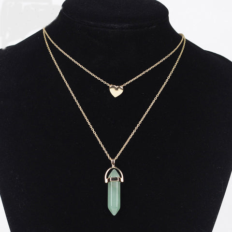 Image of Natural Stone Necklace heart gold color 2 layers pendant jewelry FREE SHIPPING