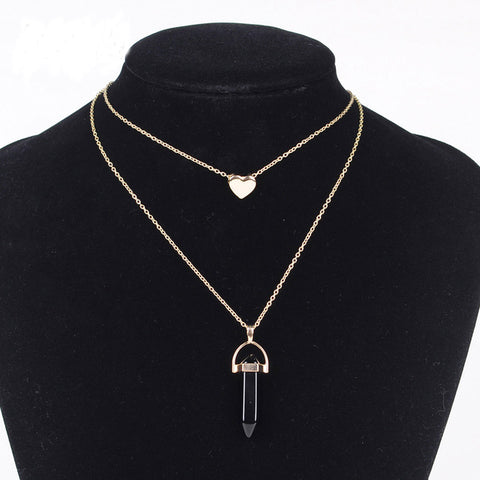Natural Stone Necklace heart gold color 2 layers pendant jewelry FREE SHIPPING