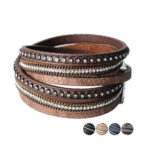 Leather & Rhinestone bangle leather bracelet jewelry - Free Shipping