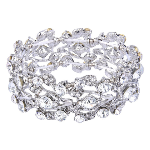 Image of Silver Plated Multi-Leaf  Clear Austrian Crystal Bracelet