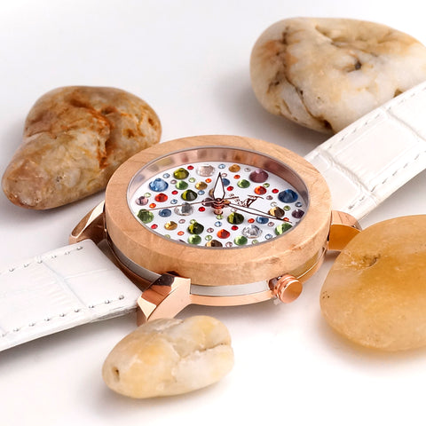 Image of Crystal Bird watch Maple face