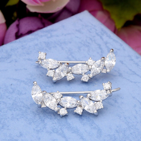 Image of That Sparkles Ear Vine 925 Sterling Silver Sparkling Leaf Cubic Zircon