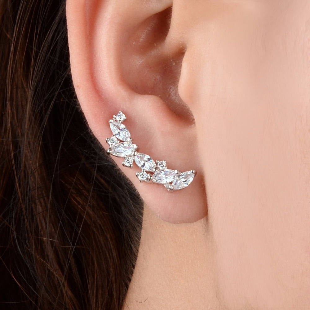 That Sparkles Ear Vine 925 Sterling Silver Sparkling Leaf Cubic Zircon