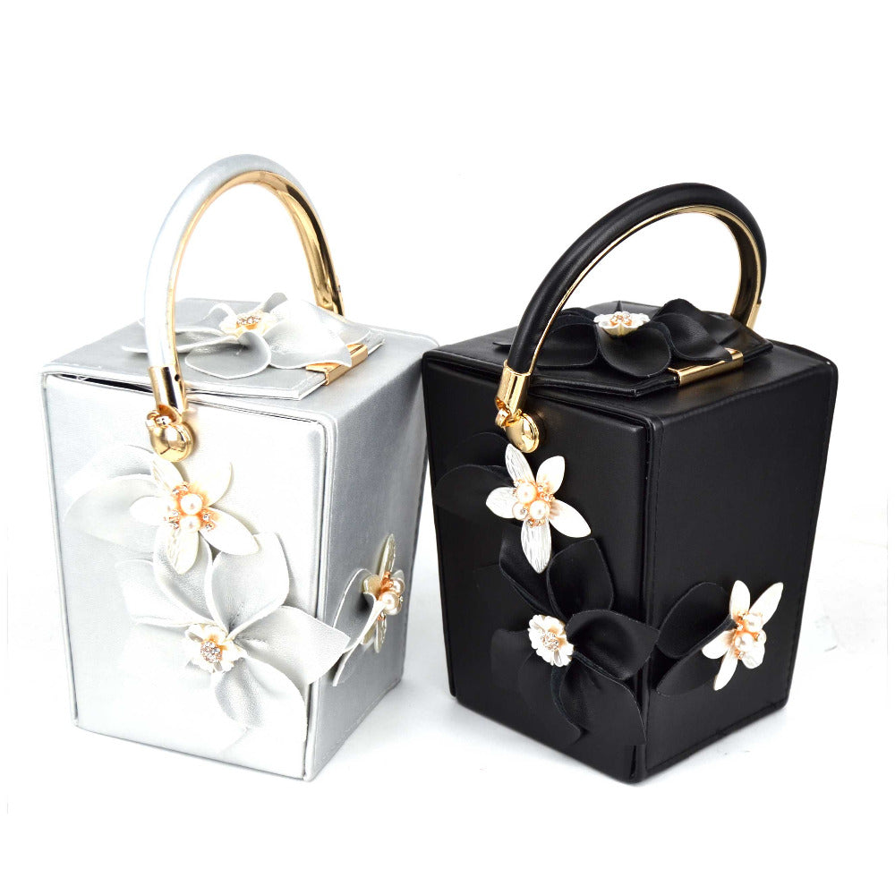 Mini Tote White Flower Bucket Party Evening Bag Box Take out box Style