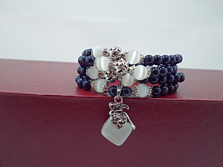 Blue Sandstone &  Opal Beaded Bracelet with Purple Pendant Vintage Style Jewelry