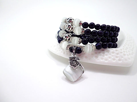 Image of Blue Sandstone &  Opal Beaded Bracelet with Purple Pendant Vintage Style Jewelry