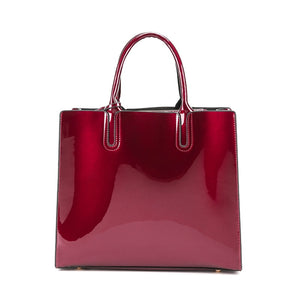 Red Patent Leather Handbag with Shoulder Strap