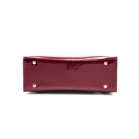 Image of Red Patent Leather Handbag with Shoulder Strap