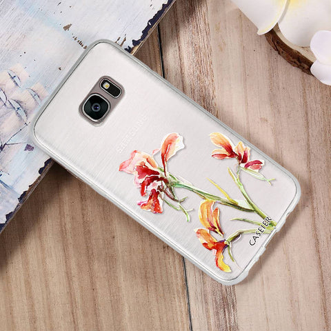 Floral Flowers Leaves Phone Case For Samsung Galaxy S6 S7 Edge S8 Plus Note 8 Cases Capa Soft TPU Flowers Cover Silicone Shell Coque