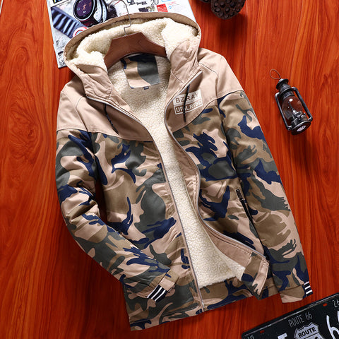 Camo Jacket Men Thick Outwear Overcoat Winter Warm Mens Bomber Jackets Coats Casual Hoodies Male European New Brand Clothing 4XL