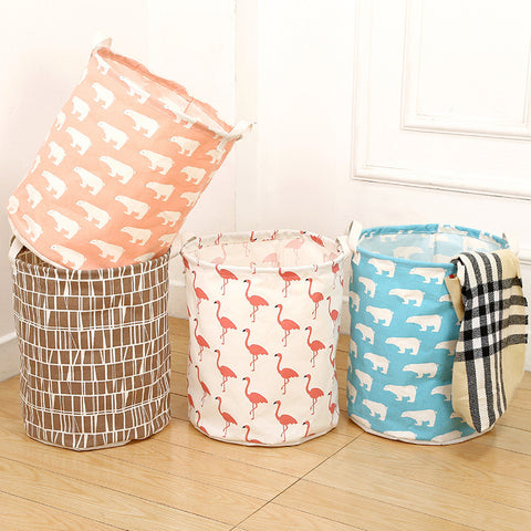 Cotton Linen Waterproof Laundry Basket Folding Clothes Storage Box/Basket/Bucket Children Toys Organizer Container